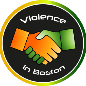 Violence in Boston's logo: an orange and green hand shaking hands.
