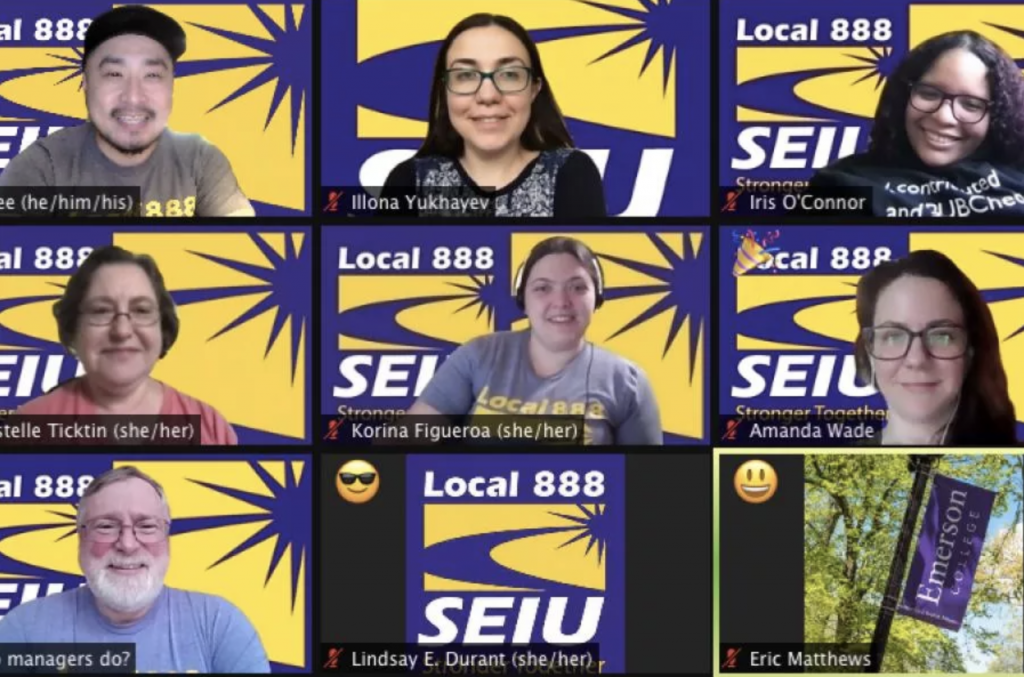 """A zoom session showing a gallery of smiling SEIU members who all have a """"Local 888 SEIU"""" background."""